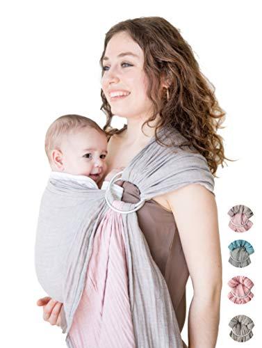 Mebien Baby Wrap Carrier Ring Sling-Cotton Muslin-Newborn Infant Toddler-Grey Rose