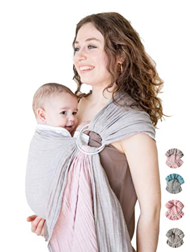 Mebien Baby Wrap Carrier Ring Sling-Cotton Muslin-Newborn Infant Toddler-Grey Rose