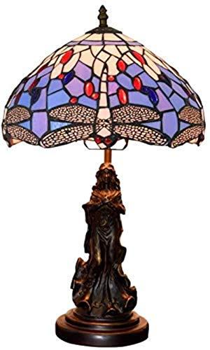 AIOJY De 12 Pulgadas Lámpara De Mesa De Noche Violeta De Estilo Victoriano De Tiffany Antigua La Libélula E27, iluminación de Lado la Sombra de Color Retro lámpara de Cristal