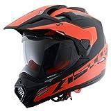 Astone Helmets -CROSS TOURER GRAPHIC ADVENTURE - Casque de motocross homologué en polycarbonate - Casque intégral polyvalent, 3 en 1 enduro route et trail - Matt black/red XL