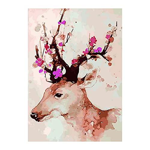 Queenser 16 x 20 polegadas DIY pintura a óleo sobre tela por número kit paisagem animais padrão para adultos crianças iniciante artesanato casa decoração de parede presente sem moldura
