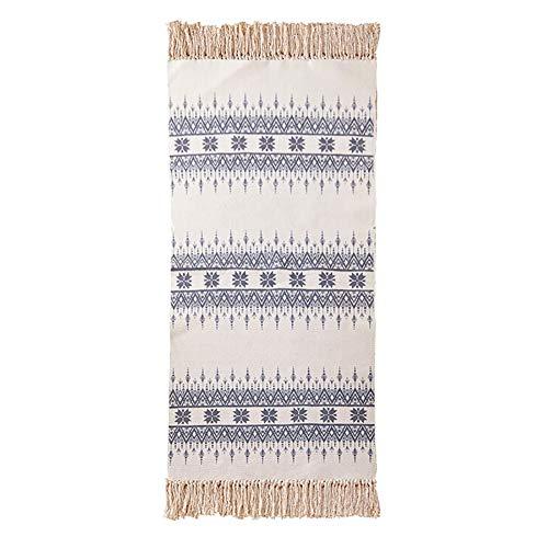 GLFDT Katoen Zachte Vloermat, Rechthoekige Riem Fringed Tapijt Marokkaanse Etnische Stijl 90 * 150cm/3 * 5ft Area Tapijt Geschikt voor Slaapkamer Woonkamer Decoratie Tapijt