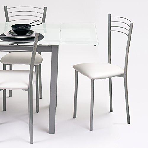 Homely Silla de Cocina metálica Colina, con Asiento tapizado PU Blanco