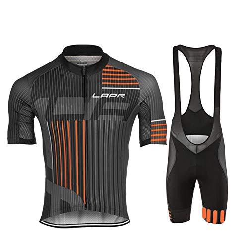 d.Stil Herren Radtrikot Set Kurzarm mit Sitzpolster für MTB Rennrad Fahrrad Jersey + Bib Shorts Radsportanzug M - 4XL (XXL, Grau-Orange)