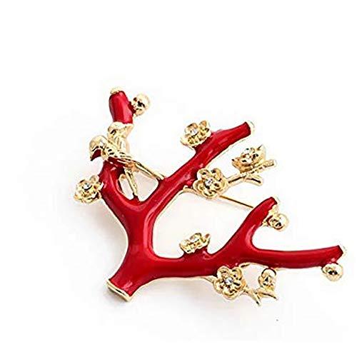 メール便 華やかな赤のツリー 小鳥 フラワー 花 のピンブローチ ゴールド ラインストーン アンティークブローチ (赤金)