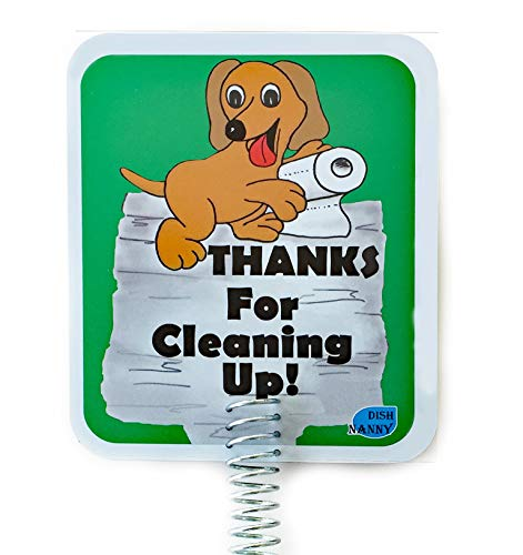 6 x 7 inch face Dog Poop Sign for Yard, Dog Poop Signs are Two Sides & Metal Stake, Made with Stronger Materials | Thanks for Cleaning UP | Keep Dogs & Pets from Pooping or Peeing