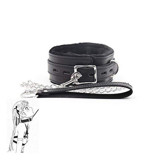 HUIJIE Juguete de Cuello de cinturón de Cuero de Felpa (Negro)