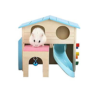 Fengtaike Pet Supplies Multifunction Villa Hamster Wooden Two-Layer Village Hamster Play House Guinea Pig Squirrel Small Pet Wood House by Fengtaike