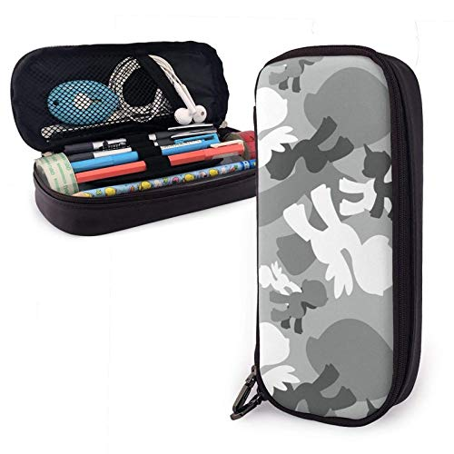 Astuccio in pelle Brony Military Urban Camo Pu Leather Pencil Case with Zipper Closure Big Capacity Carrying Case for School Office