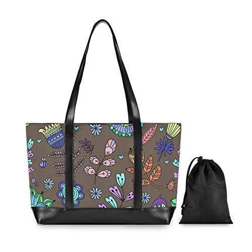 FANTAZIO Laptop-Tasche, fluoreszierende Farbe, Pflanzen-Motiv, passend für 39,6 cm (15,6 Zoll) Laptop, leichte Canvas-Tasche, Schultertasche