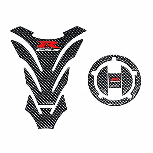 DAMOTUO Etiqueta de la Tapa del Tanque de Combustible de la Motocicleta Fibra de Carbono 3D para Suzuki GSXR GSXR 600 750 1000 1300 AB Bird SV650 K4 K5 K6 K7 K8 K9 K11 (Color : Cap and Tank Pad)