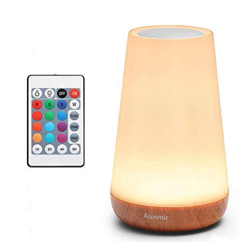 Auxmir Luz Nocturna LED, Lámpara de Mesita de Noche, Iluminación de Ambiente Interior, Control Remoto y Tactil, Temporizador, USB Recargable, Cambio de 13 Colores, para Niños, Dormitorio, Cámping