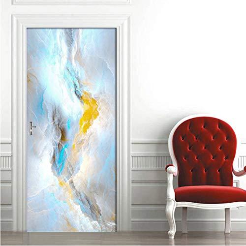 DIY pegatinas de puerta abstracto colorido nube textura de mármol PVC autoadhesivo pared calcomanía sala de estar dormitorio puerta decoración pegatina