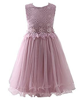 ABAO SISTER Flower Girl Dress Lace Crochet Bow Sash Party Wear 6-13 Year Old  10,Pink   Pink 6-7 Years