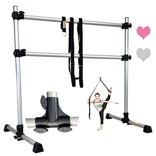 FC FUNCHEER 4 FT Double Aluminum Ballet Barre Light Weight,Portable,Adjustable with Leg Strecher for Dancing Stretching