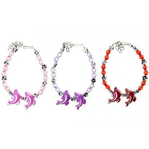 Lot de 10 Bracelet Dauphin Perle Enfant - Couleur Aléatoire - Cadeau Anniversaire Kermesse Bijoux Fille - 123