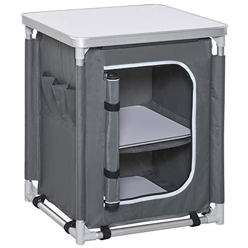 Outsunny Mobile Cucina da Campeggio con 2 Mensole e Sacca di Trasporto, in Alluminio e Tessuto Oxford 60x49x70cm Grigio