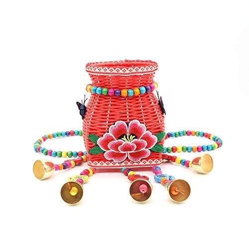 BFCGDXT Nuovo stile etnico creativo spalle ricamate colore dei bambini piccolo cestino posteriore fibbia posteriore viaggio souvenir-Grande rosso elegante