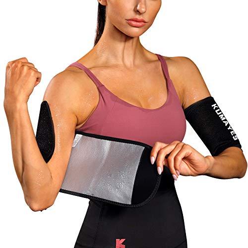 KUMAYES Sauna Arm Trimmer Bands for Women& Men Weight Sweat Arm Slimmer Wraps (Black)