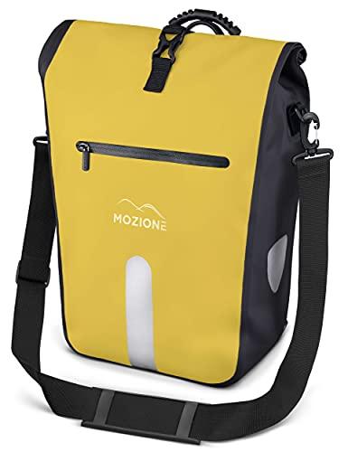 MOZIONE Gepäckträgertasche wasserdicht mit Laptopfach 15 Zoll, Schultergurt & Tragegriff, großer 25L Stauraum, Fahrradtasche für Gepäckträger für Arbeit, Schule, Einkäufe (gelb)