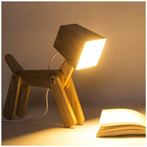 12V diseño moderno de la lámpara de mesa de madera, LED Toque niños Iluminación Animal Perro ajustable tenue luz lámpara de mesa Boy Salón Dormitorio lámpara de cabecera