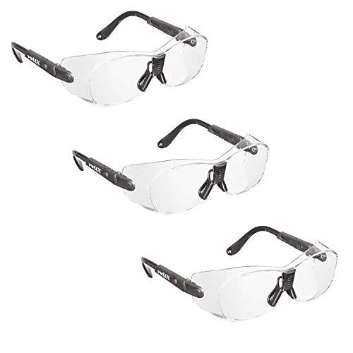 3 x voltX 'Retro Compact OVERGLASSES' – Pequeño/Mediano tamaño, Seguridad Industrial Overspecs-CE EN166ft Certificado, (Lente Transparente) - antifog, rasguño Resistente, protección UV