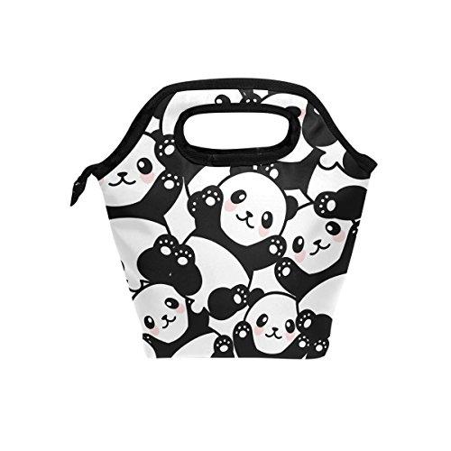 JOYPRINT Lunch Box Bag, Cute Panda Animal Pattern Insulated Cooler Ice Lunchbox Tote Bag Handbag for Men Women Adult Boys Girls Kids