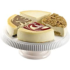 Our world famous New York style cheesecake sampler is made with rich cream cheese and sponge cake bottom is the perfect dessert, gift, present, or birthday cake Includes four of our award winning cakes divided in quarters: Original New York Plain, Ra...