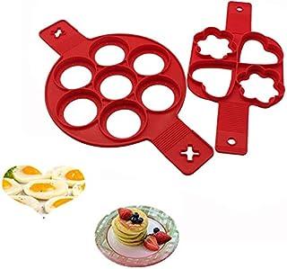 Moldes para panqueques reutilizables de silicona antiadherente, para hacer panqueques, huevos, muffins, panqueques y corazones (2 unidades)
