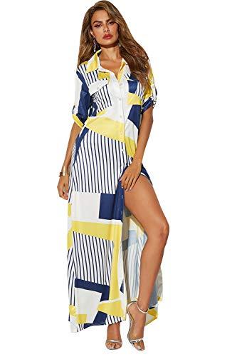 MXIU Dress Cocktail Evening Women's Clothing Women's Dress Casual Color Stitching Digital Printing Long Shirt Skirt Beach Leisure Holiday