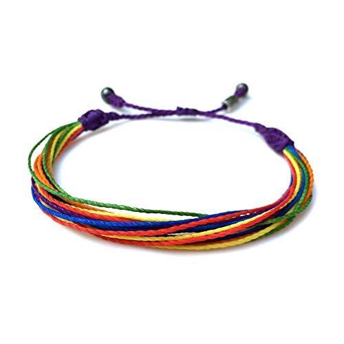 RUMI SUMAQ Rainbow Pride Bracelet: Handmade LGBTQ Lesbian Gay Bi Trans Queer Awareness Woven String Friendship Bracelet