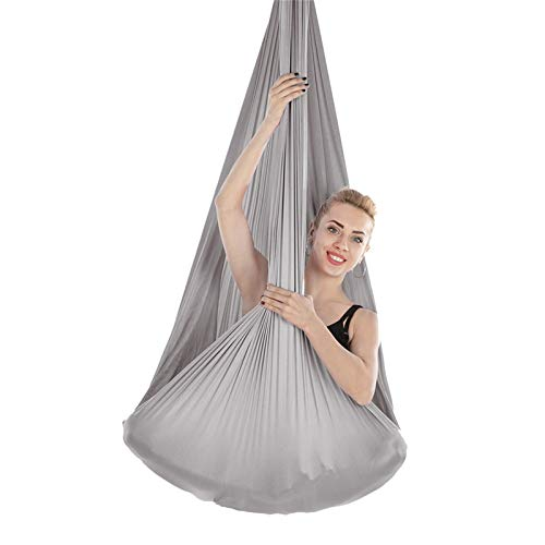 Ljings Yoga DIY Silk Pilates Premium Aerial Silks Equipment Aerial Yoga Cloth Hammock Set, with Adjustable Handles Extension Straps, for Antigravity Exercise,Gray