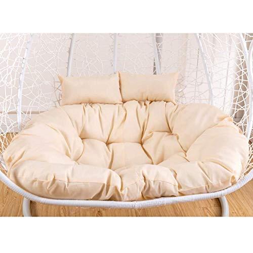 Épaissir Double Coussin De Chaise Longue Aux Oeufs,Nid d'Oeufs En Forme De Coussin Pour Intérieur Extérieur,Coussin De Panier En Osier(Ne Pas Inclure Le Président) Blanc Crème 100x138cm(39x54inch)