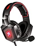Gizori Surround Sound Gaming Headset with Microphone, Over Ear Gaming Headphones with Noise Canceling Mic, LED Light, Bass Surround, Soft Memory Earmuffs for PS4, PS5, Xbox one, Mac, PC… (Red)