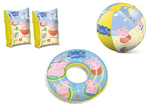 JOVAL -Set Infantil para Piscina de Peppa Pig. Pelota, Flotador y Manguitos. Buen Vinilo, Resistente al Agua y Rayos UV. con válvulas de Seguridad para la máxima Seguridad de los niños.