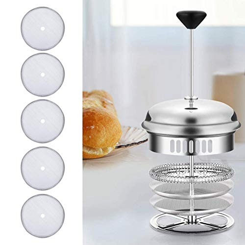 xiaomijiating 5 Stück French Press Filter Hochwertiger Kaffeefilter Praktischer Edelstahl-Kaffee-Netzfilter Kaffeefilter-Netz Küchenzubehör für Kaffeemaschinen