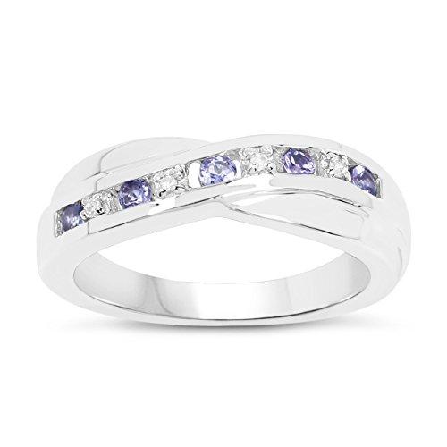 La Colección de Anillo Diamantes: Anillo Oro Blanco 9ct Oro blanco Tanzanita con set de Diamantes, Anillo Eternidad Perfecto para regalo Anillo Aniversario, Talla 24