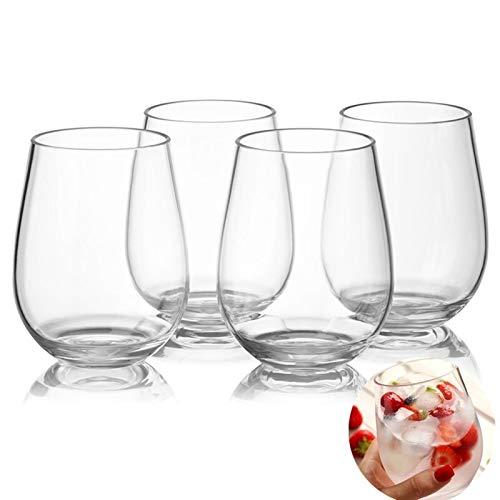 Copa de Vino, 4pc / set PCTG irrompible Copa de vino tinto Rostro a prueba de vidrios de plástico Tazas Transparente Fruta Jugo Cerveza Copa Bar Gereedschap