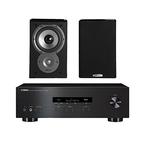 """Yamaha R-S202 Stereo Receiver Bundle with Polk TSi100 2-Way Bookshelf Speakers with 5-1/4"""" Driver - (Pair) Black"""
