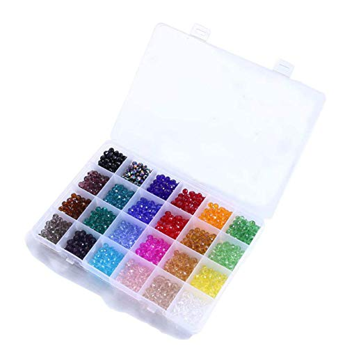 1200Pcs Perline Sfaccettate Colorate,Perline Sfaccettate Grandi,Perline Cristallo Sfaccettato,Perline di Vetro Sfaccettate,Perline di Vetro per Bigiotteria,Perline di Cristallo Swarovski