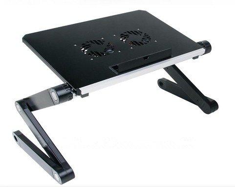 Soporte portátil y ajustable de aluminio para portátiles, Notebooks y Macbooks con ventiladores para CPU, de peso ultraligero, ergonómico, bandeja para la cama, posición parado o sentado
