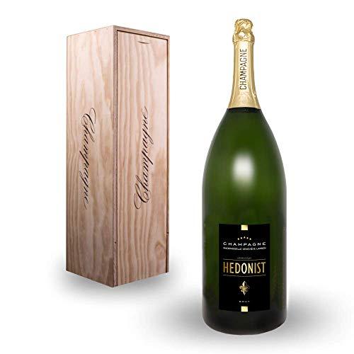 Hedonist® Champagner Brut 9 L | 100% Pinot Meunier | edles Design | feine Aromen | inkl. Holzkiste | exklusiv aus Leuvrigny, Frankreich