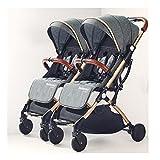 jiji sillas de Paseo Cochecito de bebé Gemelo, Puede Sentarse y acostarse, Desmontable con una Mano Plegable Plegable portátil Plegable bebé Cochecito de bebé Cochecito de bebé (Color : Dark Gray)