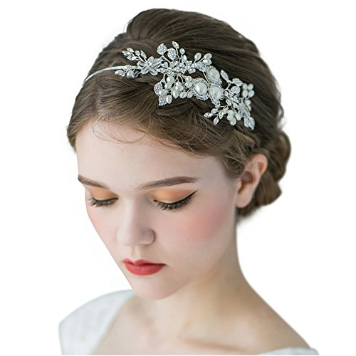 SWEETV Handmade Pearl Wedding Headbands for Women, Silver Rhinestone Hair Band Bridal Headpiece, Hair Jewlery…
