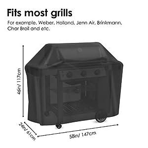 Velway Funda para Barbacoa BBQ Cubierta de la Parrilla Impermeable Anti-UV 210D Oxford Tela Resistente al Agua Viento Lluvia Nieve Polvo 147 * 61 * 117cm