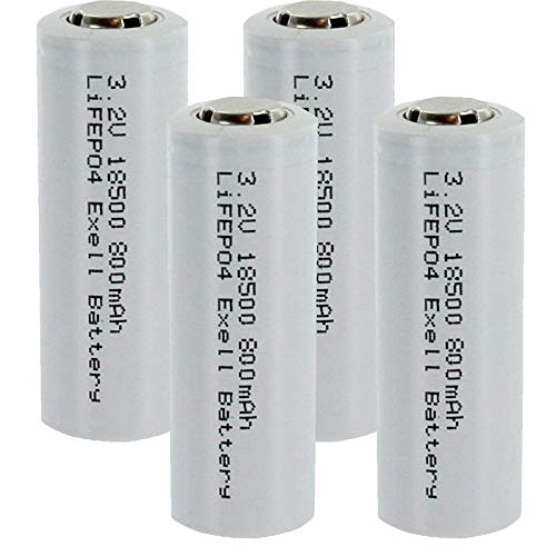 4-PACK 3.2V 800mAh Li-FePO4 Size 18500 (18 x 46.9mm) Rechargeable Batteries