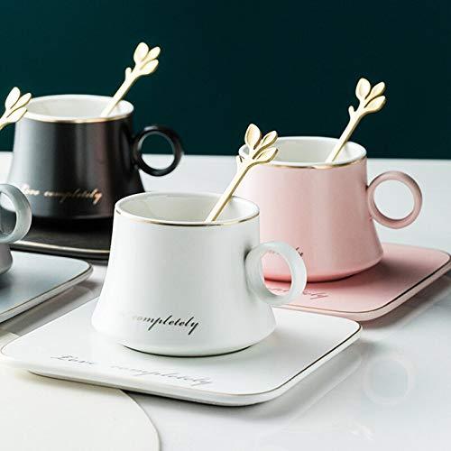 DADONG Taza de porcelana europea de cerámica con leche de soja para desayuno, café condensado, taza de té y platillo, juego de cucharas, tazas de Navidad, color rosa