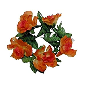 LINESS for Orange Rose 6.5″ Candle Ring 3.5″ Opening PillarTaper Home Silk Flower Decor US DIY LINESS for Floral Décor Candle Holders & Accessories