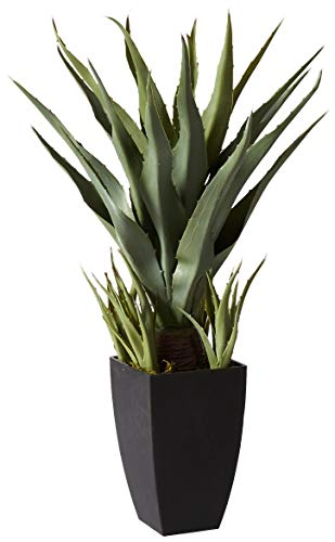 Nearly Natural 4856 Agave Plant with Black Planter, Green