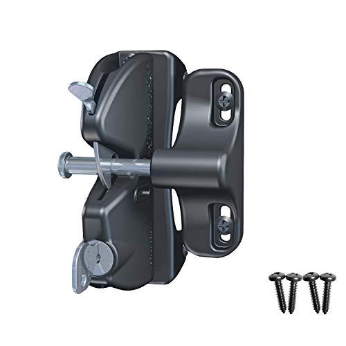 D&D Technologies LLAA LokkLatch, Locking Gate Gravity Latch, Key Lockable on One Side of Gate, for Metal, Wood, and Vinyl Fences, Black